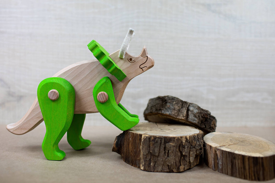 BAJO Wooden Triceratops Action Figure