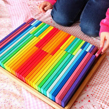 Load image into Gallery viewer, Rainbow Building Slats in Tray - 64 Pc