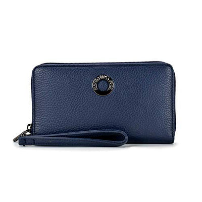 Mandarina Duck Mellow Leather large zip around wallet P10FZP69 Dress Blue