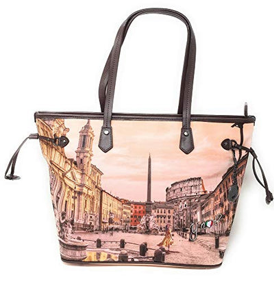 YNOT Shopping Bag Small YES-336F0 BROWN-ROME 38,5 x 13,5 x 24,5 cm