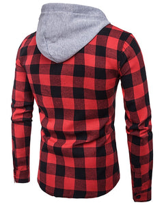 Men Plaid Buttoned Hooded Top