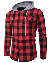 Load image into Gallery viewer, Men Plaid Buttoned Hooded Top