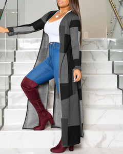 Colorblock Long Sleeve Casual Longline Coat - Gray & Black