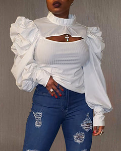 Plain Puff Sleeve Cutout Top