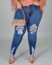 Load image into Gallery viewer, Plus Size Ripped Cutout Fringe Hem Jeans