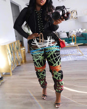 Load image into Gallery viewer, Abstract Print Eyelet Lace Up Top & Pants Set