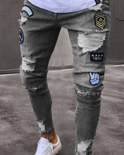 Load image into Gallery viewer, Fashionable Embroidery Ripped Slim Hole Jeans