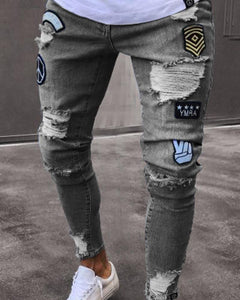 Fashionable Embroidery Ripped Slim Hole Jeans