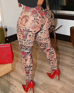 High Waist Graphic Print Skinny Pants