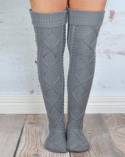 Load image into Gallery viewer, Braided Knit Over The Knee Socks