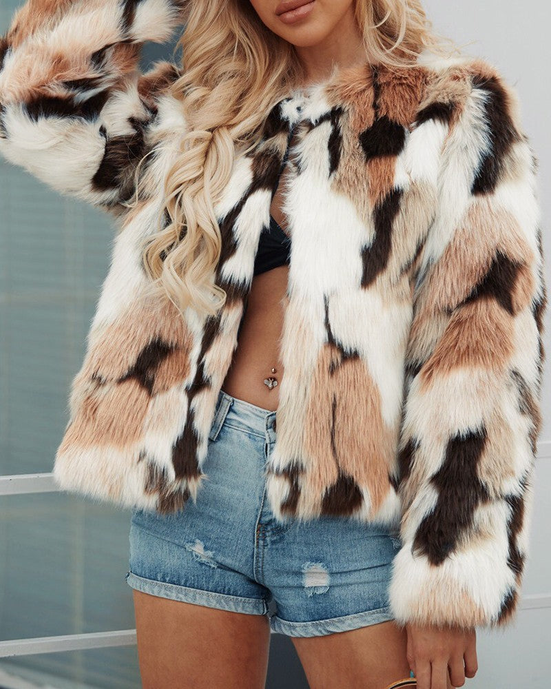Colorblock Open Front Faux Fur Coat