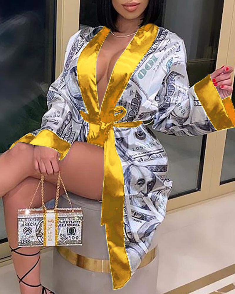 Dollars Print Long Sleeve Robe - Yellow