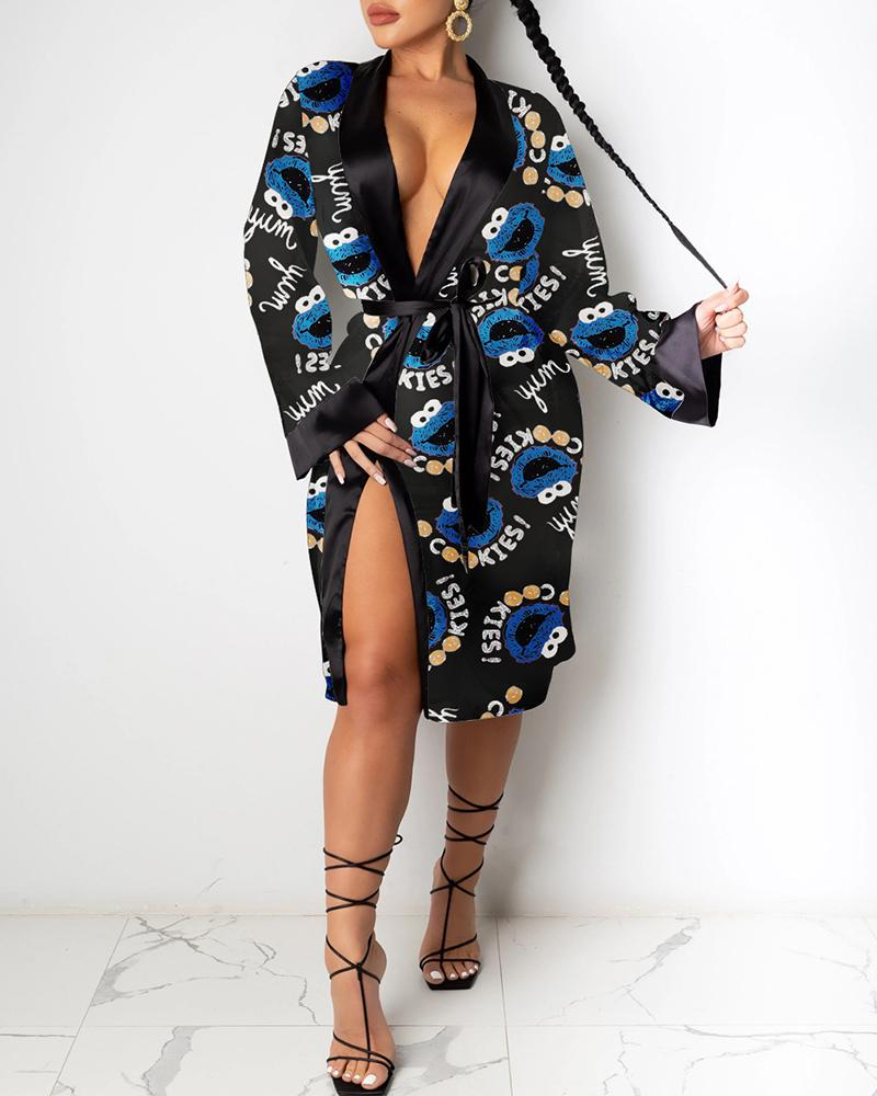 Cookie MOnster High Slit Robe