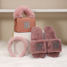 Load image into Gallery viewer, 3 Pc NY Purse, Headband, & Slippers Set