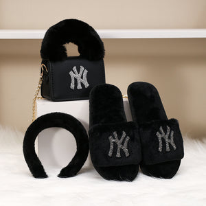 3 Pc NY Purse, Headband, & Slippers Set
