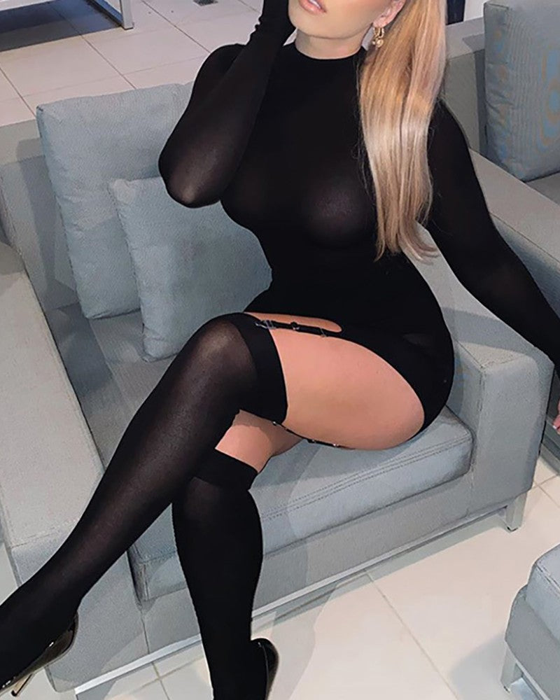 Mesh Long Sleeve Garter Bodycon Dress