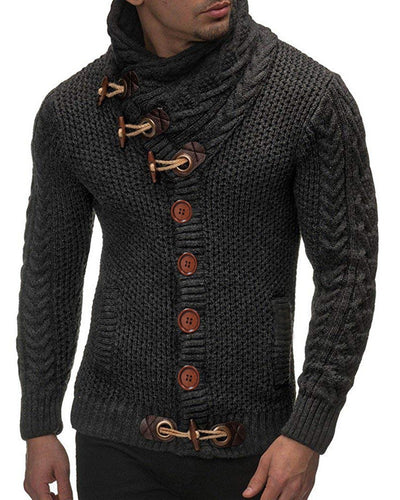 Men Eyelet Buckle Braided Buttoned Sweater