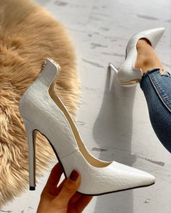 Pointed Toe Zip Detail PU Heels