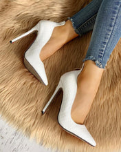 Load image into Gallery viewer, Pointed Toe Zip Detail PU Heels