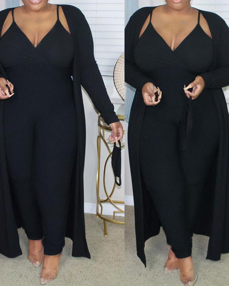 Plus Size Ribbed Plain Crop Top & Pants Set With Coat & Mask