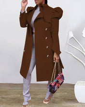 Load image into Gallery viewer, Plain Puffed Sleeve Trench Coat