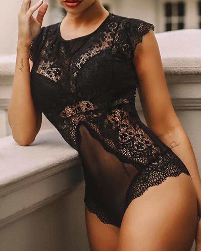 Crochet Lace Hollow Out Teddy Bodysuit