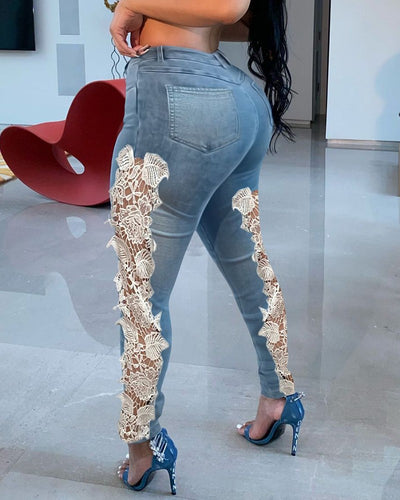 Contrast Lace High Waist Skinny Jeans