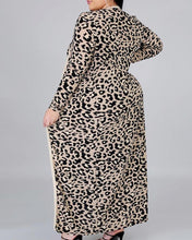 Load image into Gallery viewer, Plus Size Cheetah Print Casual Dress & Long Sleeve Cardigan Set