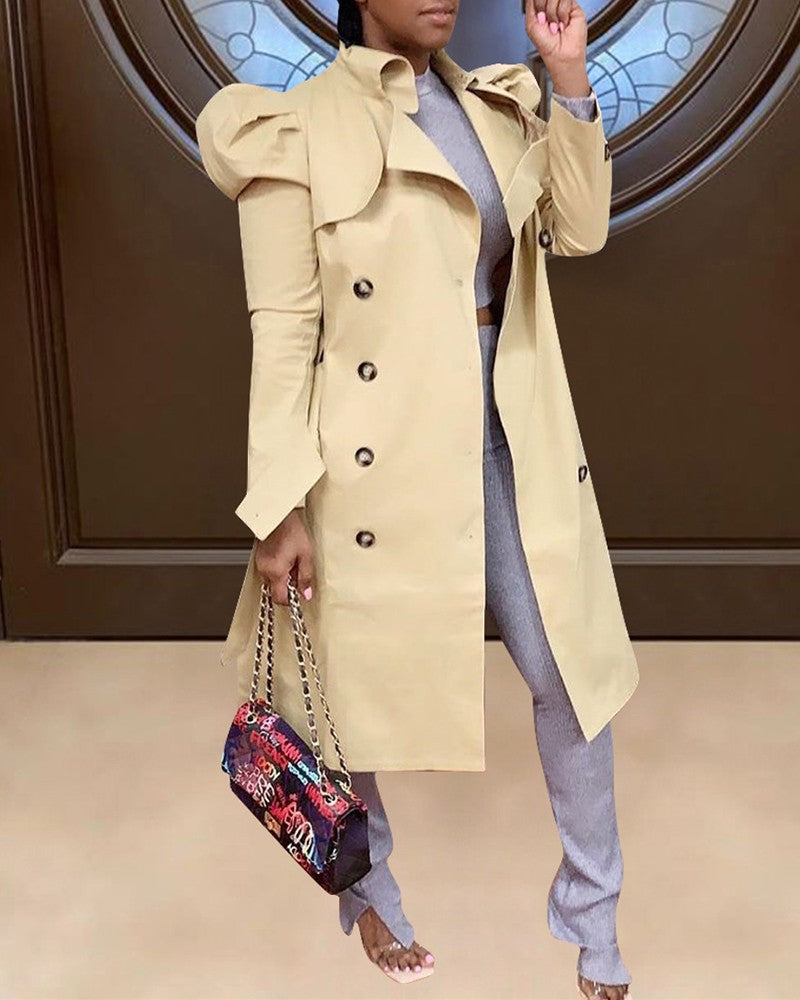 Plain Puffed Sleeve Trench Coat