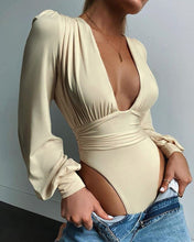 Load image into Gallery viewer, Puff Sleeve Ruched Bodysuit