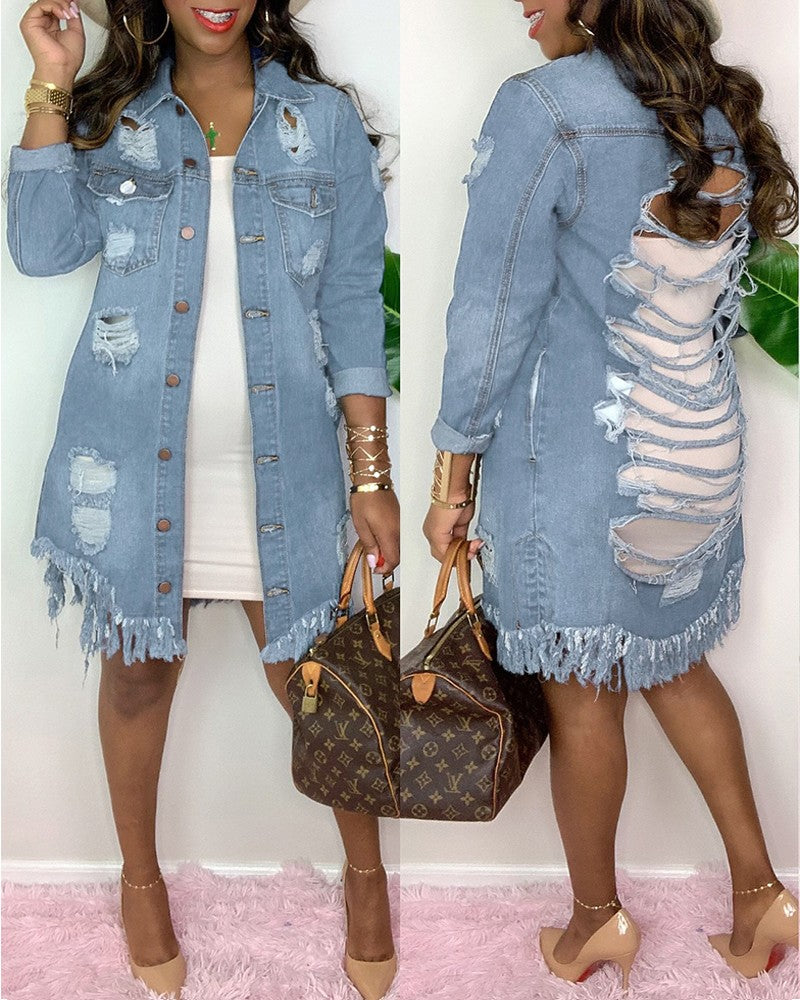 Button Tassel Design Ladder Cutout Denim Coat