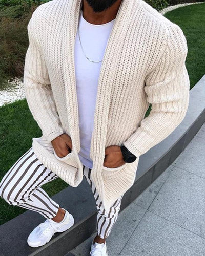 Solid Knitted Long Sleeve Cardigans