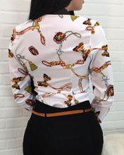 Load image into Gallery viewer, Button Design Chain Print Long Sleeve Shirt