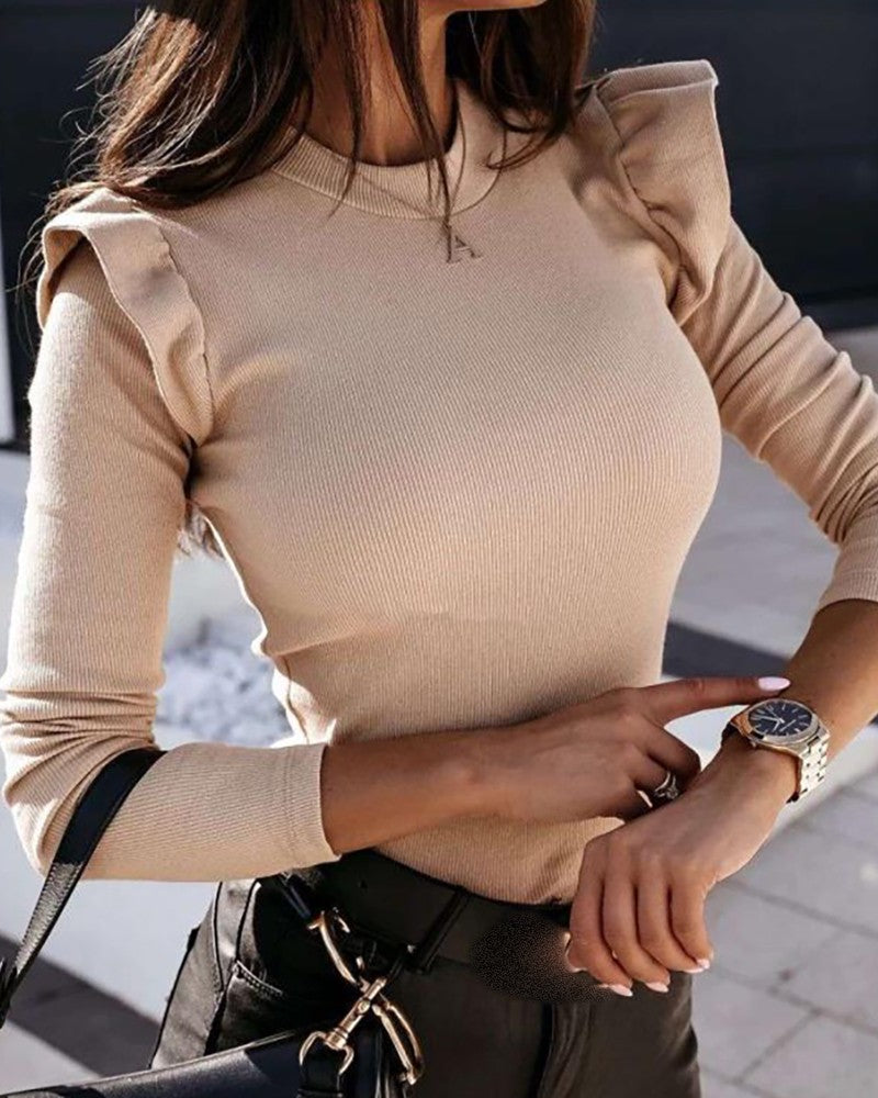 Plain Frill Hem Long Sleeve Sweater