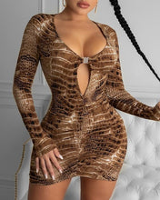 Load image into Gallery viewer, Snakeskin Print Cutout Front Bodycon Dress