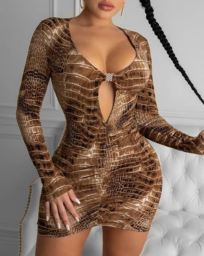 Snakeskin Print Cutout Front Bodycon Dress