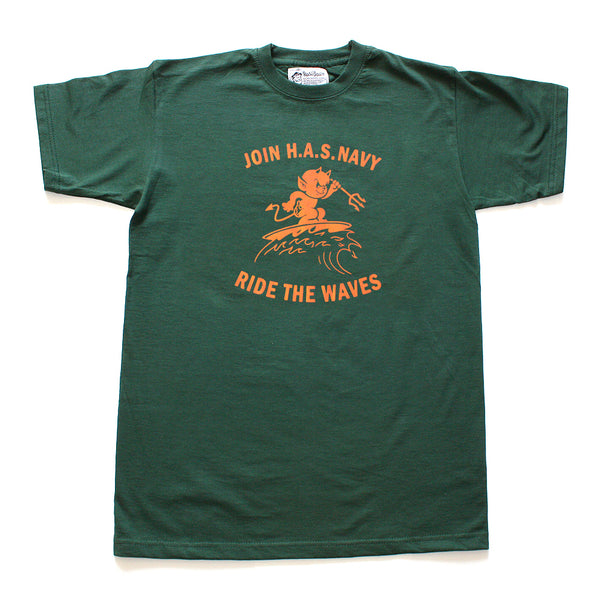 T-shirt. Ride the Waves. Green