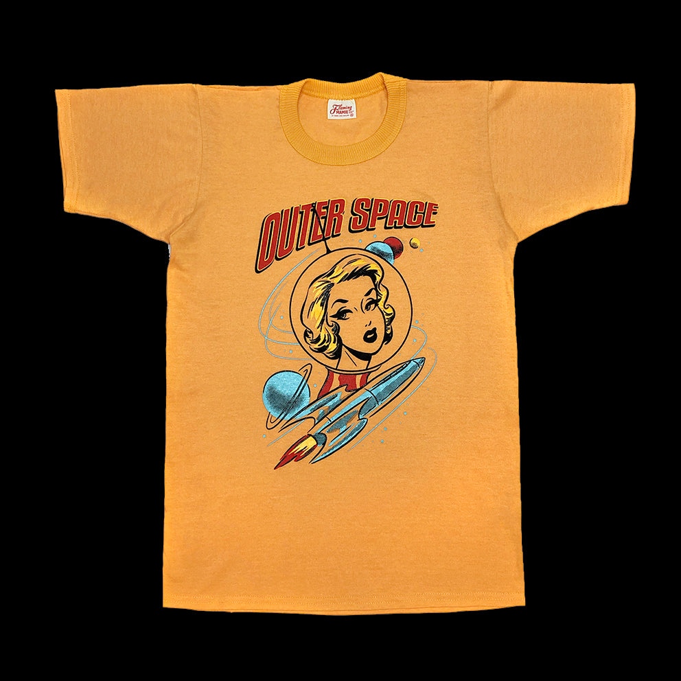 Women's T-shirt. Outer Space. Yellow