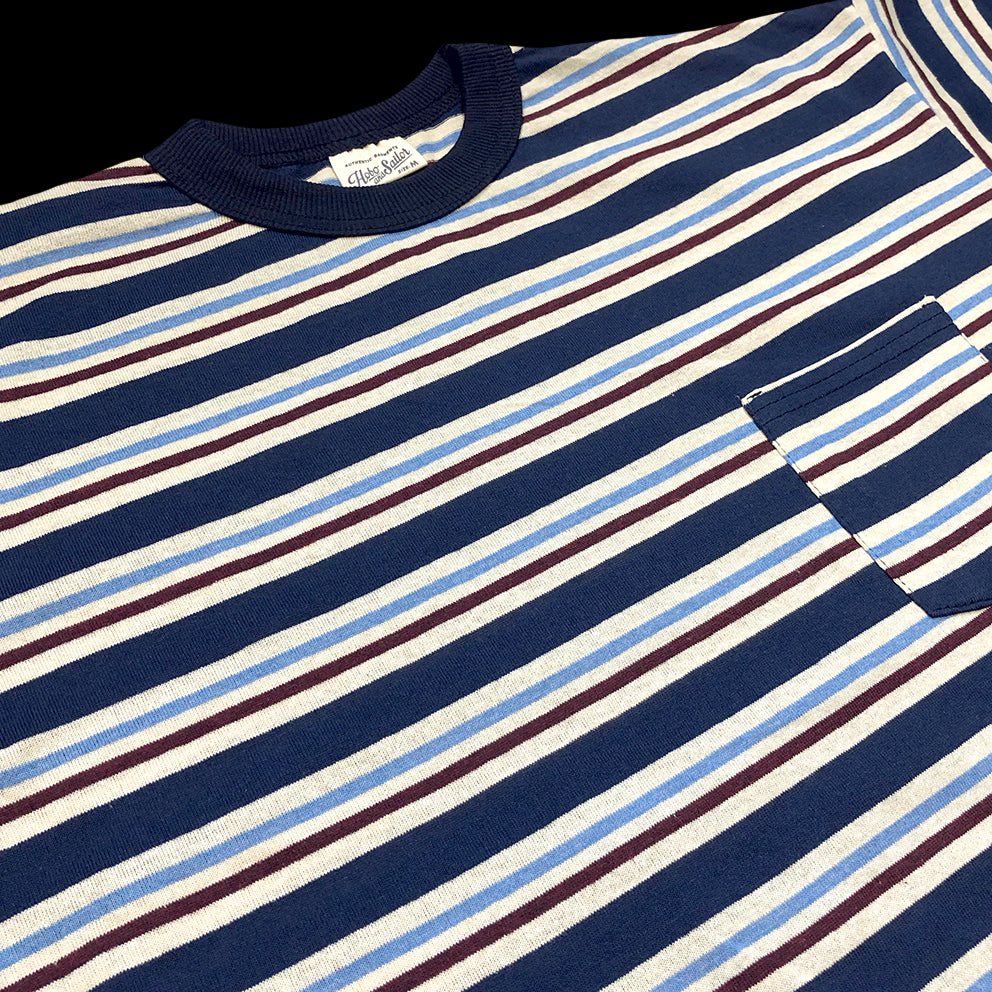 Pocket T-shirt. Blue Stripes