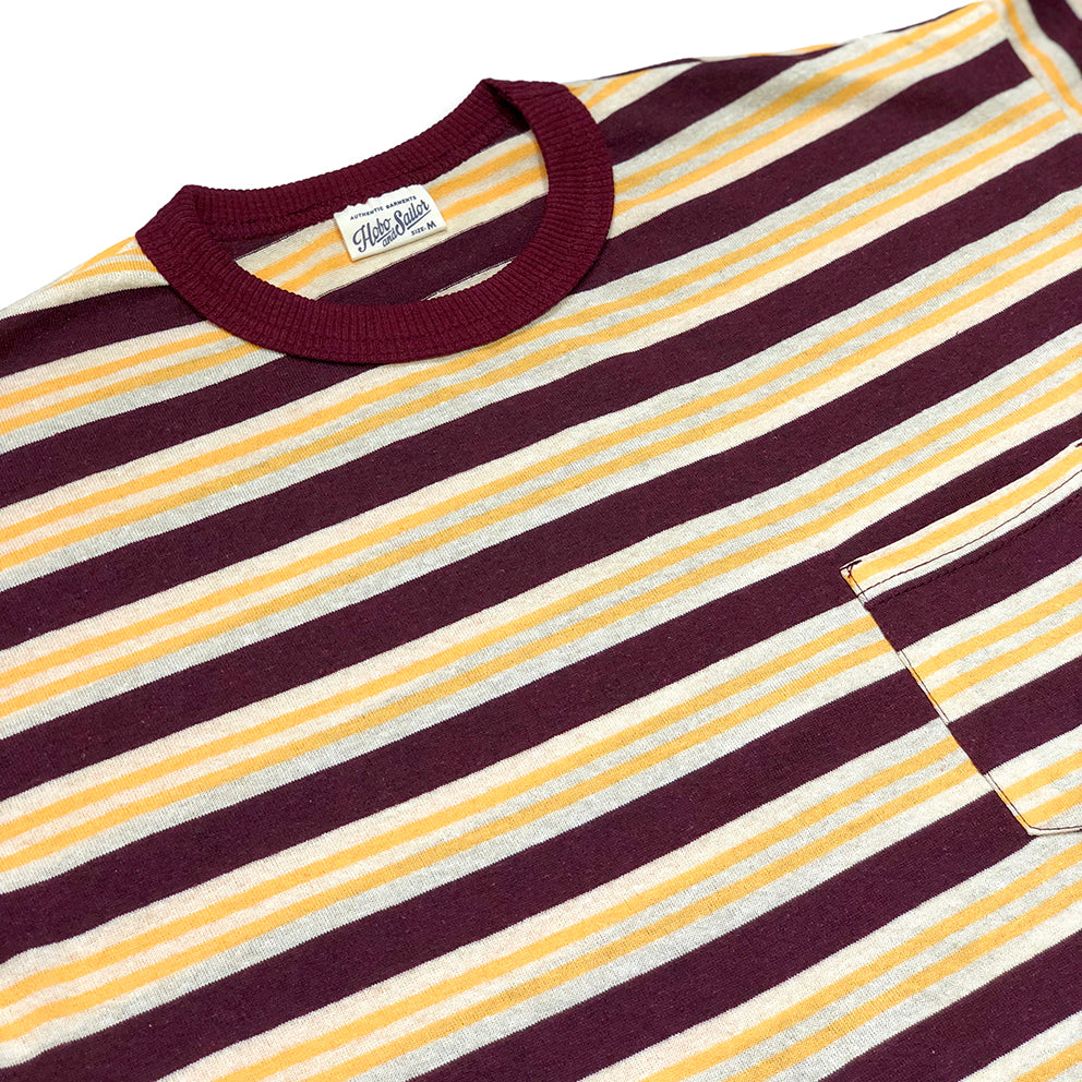 Pocket T-shirt. Red Stripes