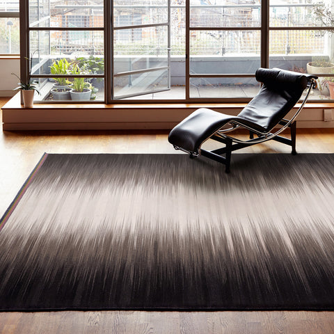 Flatweave Rug - Grey Black Colourfield Gelim - Ptolemy Mann