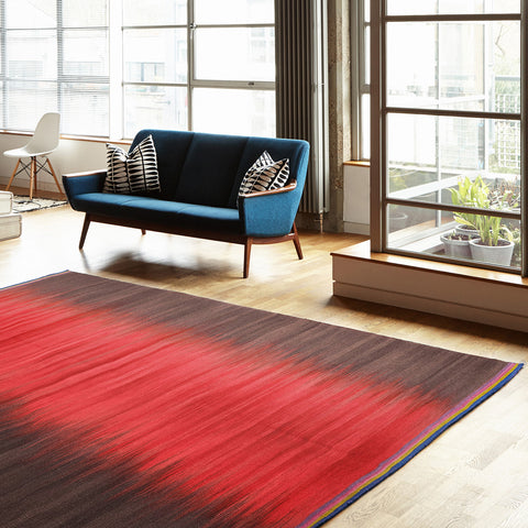 Flatweave Rug - Red Charcoal Colourfield Gelim - Ptolemy Mann