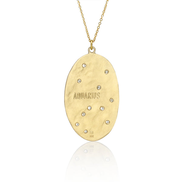 Hand made in Los Angeles Brooke Gregson 14k gold Aquarius Zodiac Astrology Diamond Necklace back view