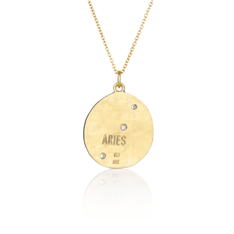 Hand made in Los Angeles Brooke Gregson 14k gold Aquarius Zodiac Aries Diamond Necklace back view