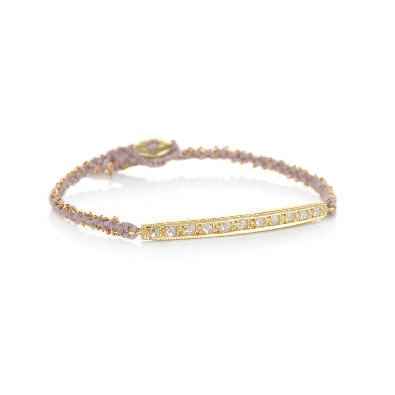 Hand Made in Los Angeles Brooke Gregson 18k gold diamond bar Silk Woven bracelet