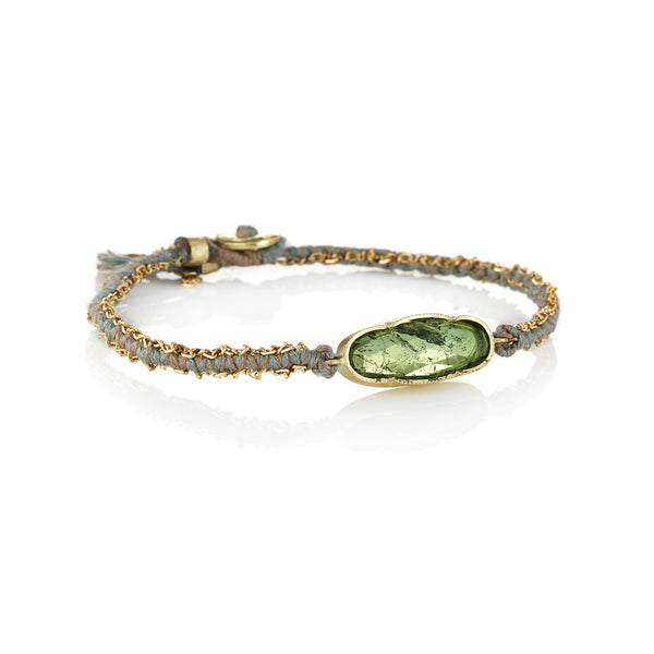 Hand made in Los Angeles Brooke Gregson 18k gold green tourmaline with silk and gold chain woven bracelet