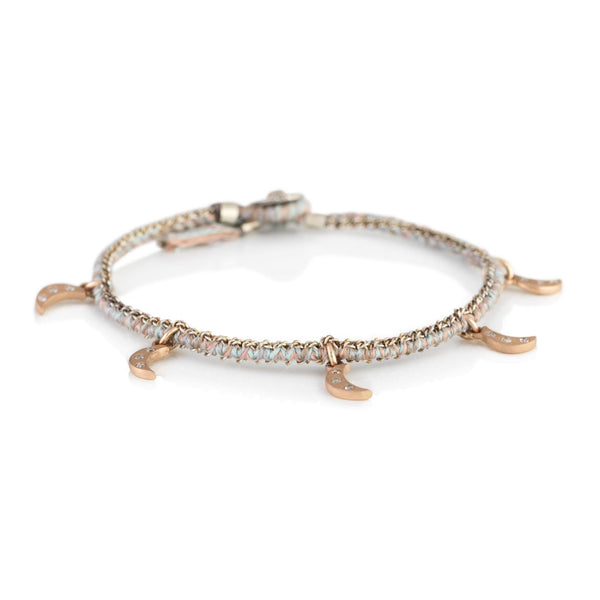 14k rose gold diamond crescent charm with hand woven silk and chain bracelet