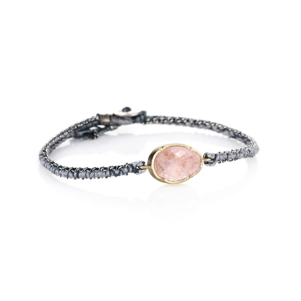 Hand made in Los Angeles Brooke Gregson 14k gold Morganite silk woven chain bracelet