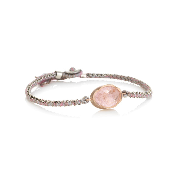 Hand made in Los Angeles Brooke Gregson 14k rose gold Morganite silk woven chain bracelet