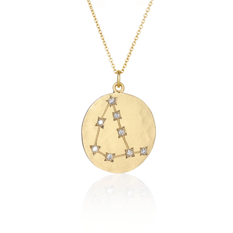 Hand made in Los Angeles Brooke Gregson 14k gold Astrology Zodiac Capricorn Diamond Star Sign Necklace